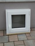 Okno biele, š 550 x v 550 mm otváravo- sklopné (OS) s čírym sklom cena 56€ s DPH.