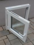 Okno biele, š 600 x v 600 mm otváravo- sklopné (OS) so sklom DKČ (dubová kôra číra) - funkcia otvaravé.