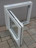 Okno biele, š 600 x v 600 mm otváravo- sklopné (OS) s čírym sklom - funkcia otvorené.